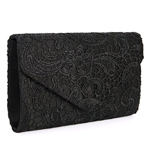 Baglamor Women's Elegant Floral Lace Envelope Clutch Evening Prom Handbag Purse(Black)