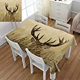 Angoueleven Antler Decor,Dinning Tabletop Decor,Whitetail Deer Fawn in Wilderness Stag Countryside Rural Hunting Theme,Table Cover for Kitchen,Brown Sand Brown,Size:60''x60''
