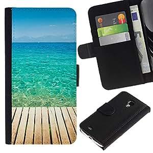 NEECELL GIFT forCITY // Billetera de cuero Caso Cubierta de protección Carcasa / Leather Wallet Case for Samsung Galaxy S4 Mini i9190 // Blue Paradise Agua