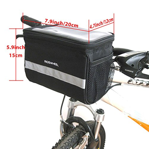 TRADERPLUS Bicycle Basket Handlebar Bag with Sliver Grey Reflective Stripe for Mountain Bike Outdoor Activity Cycling Pack Accessories 3.5L by TRADERPLUS (Image #6)