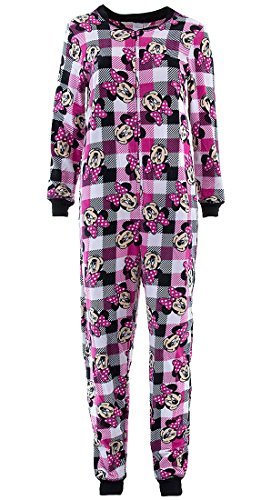Disney Women's Minnie Mouse Pink Plaid Union Suit Pajamas - Suit Plaid Union