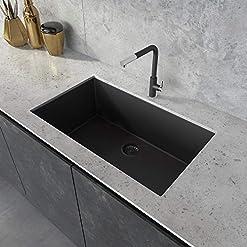 Kitchen Ruvati 33 x 19 inch Granite Composite Undermount Single Bowl Kitchen Sink – Midnight Black – RVG2080BK modern kitchen sinks