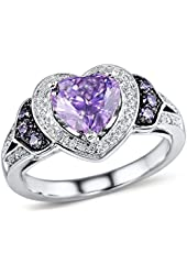 Amethyst Heart Shape and Diamond Accented Halo Ring in Sterling Silver