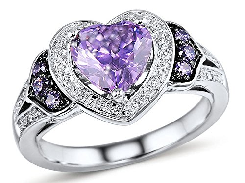 Amethyst Heart Ring Diamond Accented Halo Ring in Rhodium Plated (Black Diamond Hi Light)