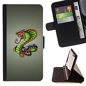 BullDog Case - FOR/Samsung Galaxy S5 V SM-G900 / - / King Cobra Snake /- Monedero de cuero de la PU Llevar cubierta de la caja con el ID Credit Card Slots Flip funda de cuer