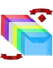 Plastic Wallets Folders - A4 Document Folder Wallet Popper Wallets with Button(24Pcs)