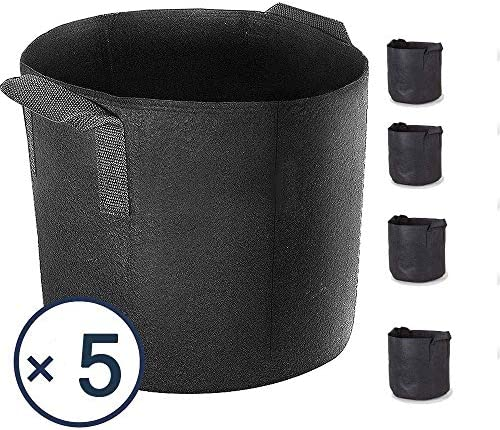 Akarden 5-Pack 10 Gallon Grow Bags,Heavy Duty Aeration Fabric Pots with Handles Black