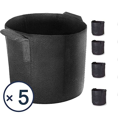 Akarden 5-Pack 5 Gallon Grow Bags, Heavy Duty Aeration Fabric Pots with Handles Black
