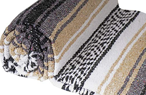 El Paso Designs Genuine Mexican Falsa Blanket - Yoga Studio Blanket, Colorful, Soft Woven Serape Imported from Mexico (Beige) by El Paso Designs (Image #6)