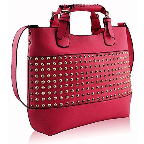 TrendStar - Bolso de tela de piel sintética para mujer rosa Y - Pink