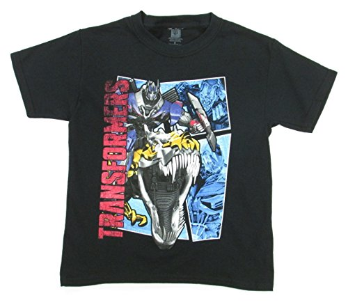 Transformers Fall of Cybertron T-Rex Head Youth T-Shirt - Black (Large)