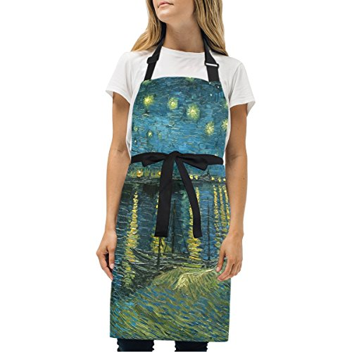 (WIHVE Fashion Apron Van Gogh Starry Night Over The Rhone Adjustable Apron with Pockets and Extra Long Ties, Machine Washable, 27.5x29 in)