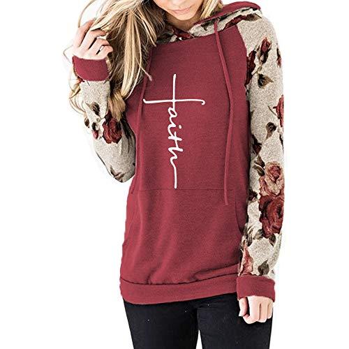 (Womens Faith Floral Shirt Long Sleeve T-Shirt for Women Plus Size Hooded Sweatshirts)