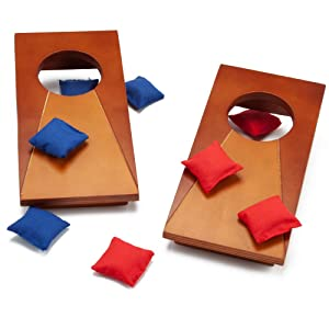 GSE Games & Sports Expert Mini Tabletop Cornhole Toss Game Set with 8 Bean Bags