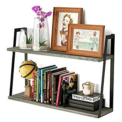 SRIWATANA Floating Wall Shelves, 2-Tier Rustic Wood Shelves for Bedoom, Bathroom, Living Room, Kitchen (Weathered Gray) - EFFICIENT SPACE SAVER - Unique shelving solution for reducing clutter in the living room, office, kitchen and more; Ideal for displaying your favorite collectibles and decorative item. ENHANCE YOUR WALL DECOR - Add a retro design element to your home decor through weathered grey wood and industrial metal brackets; Great to accent your treasured memories. DURABLE WITH AMPLE STORAGE - The whole shelf holds a maximum weight of 40lb when mounted to solid wall; 2-tier shelf with a vertical spacing of 10.3'' offers more storage space. - wall-shelves, living-room-furniture, living-room - 51x8Y AIgQL. SS400  -