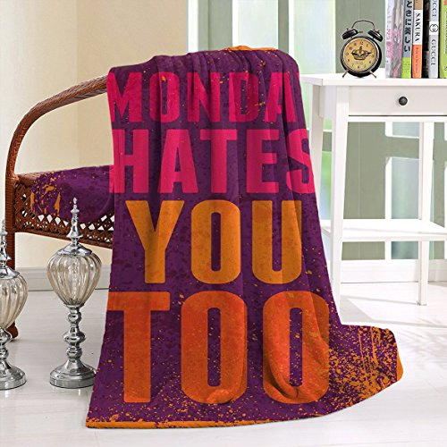 HAIXIA Blanket Grunge Vintage with Monday Hates You Too Inspiring Quote Purple and (Twilight Tye Dye)