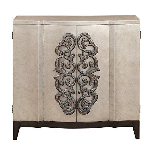 Treasure Trove Two Door Cabinet, Silver and Black