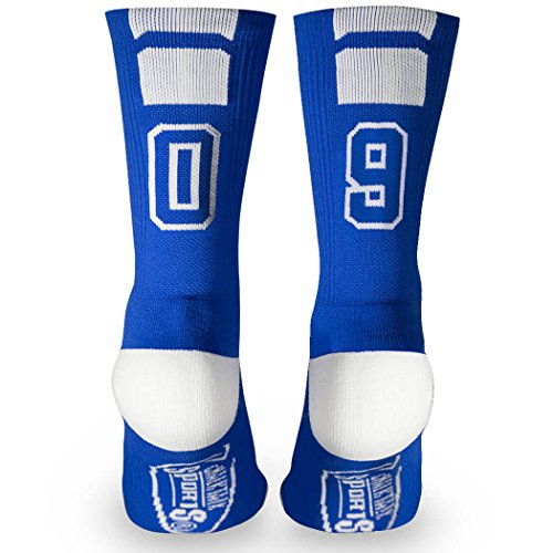 ChalkTalkSPORTS Athletic Half Cushioned Crew Socks  Mid Calf  Blue  Team Number 09 or 90,One Size Fits Most