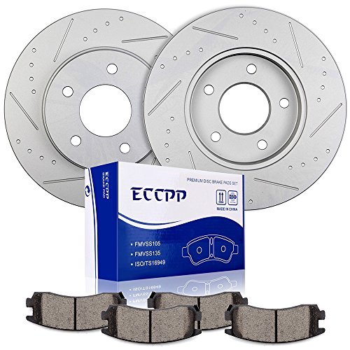 Brake Rotors Pads Kits,ECCPP 2pcs Rear Discs Brakes Rotors and 4pcs Ceramic Disc Brake Pads Set for Buick LeSabre/Park Avenue/Riviera,Cadillac Allante/DeVille/Eldorado/Seville,Oldsmobile Aurora