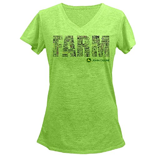 Farm Equipment T-shirt - John Deere Ladies Farm V-neck Short Sleeve T-shirt-Apple-xxl