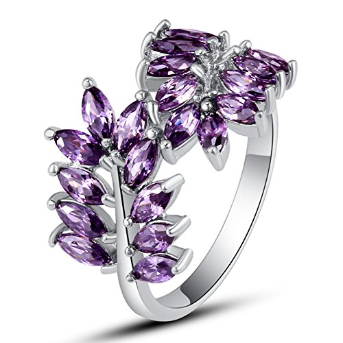 (Veunora 925 Sterling Silver Created Marquise Cut Amethyst Filled Leaf Cluster Ring for Women Size 9)