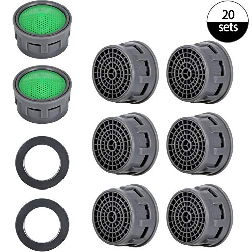 20 Sets Faucet Aerator with Gasket 2.2 GPM Sink Aerator Faucet Replacement Parts for Bathroom or Kitchen (Moen Sink Kitchen Aerator)
