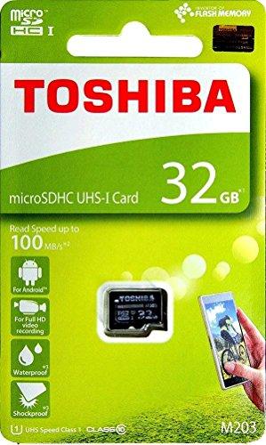 (Toshiba 32GB M203 microSDHC UHS-I U1 Card Class 10 microSD micro SD Card Memory Card 100MB/s)