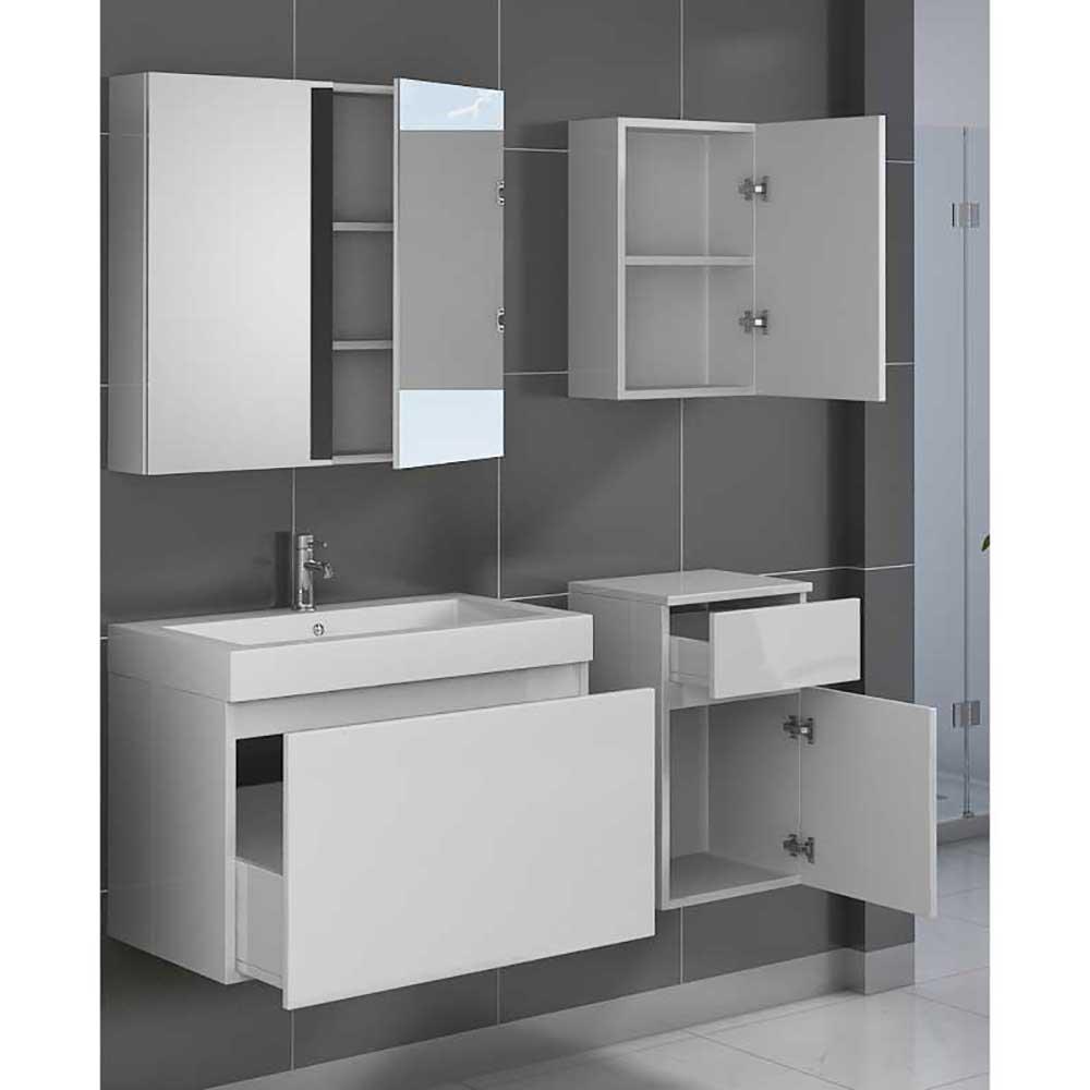 Badezimmer Set in Hochglanz Weiß mit Waschtisch (4-teilig) Pharao24 ...