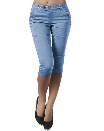 Minetom Pantacourt Femme Skinny Pantalons Courts 3 4 Sarouel Legging Casual  Eté Confortable Boutons Shorts b38d0dd871c0