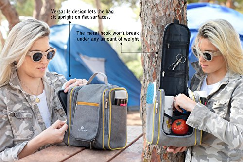 Hanging Toiletry Bag – Large Travel Toiletries Organizer with Strong Metal Hook, Zippers – Waterproof, Compact, Portable Mens & Womens Toiletry Kit Hiking Bag – Unisex Shower Bag by Alice & Ben, Grey by Alice & Ben (Image #6)