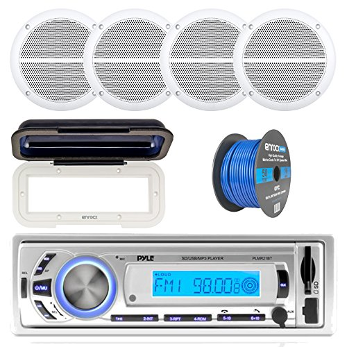 (Pyle PLMR21BT Marine Boat USB/SD/MP3 Bluetooth Stereo Receiver With Waterproof Cover Bundle Combo With 4x Enrock 6.5