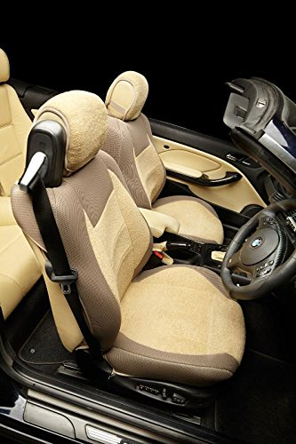 TOP CAR Athens | Two Front Car Seat Covers | Sponge/Foam Padding | Custom Made, Compatible with BMW 6 Series E64 Convertible Seats | Material Towel Cotton | Colour All TAN (Beige) (Best Convertible Car Seat Canada)