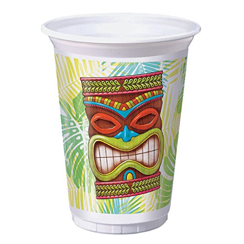 Tiki Time 16 oz Plastic Cups, 24 Count