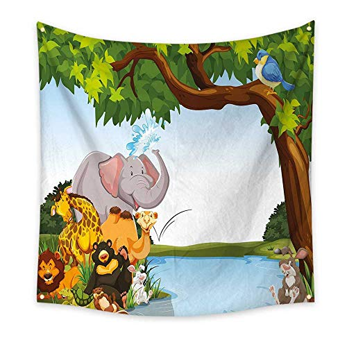Kids Dorm Room Tapestry Various Cartoon Style Animals Together by River Bank Tree Bird Cute Funny Wildlife Floral Wall Tapestry Multicolor 70W x 70L ()
