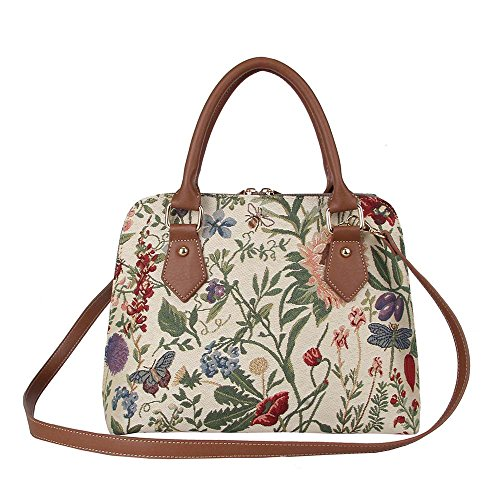 Signare Tapestry Handbag Satchel Bag Shoulder bag and Crossbody Bag and Purse for women with Morning Garden (CONV-MGD)