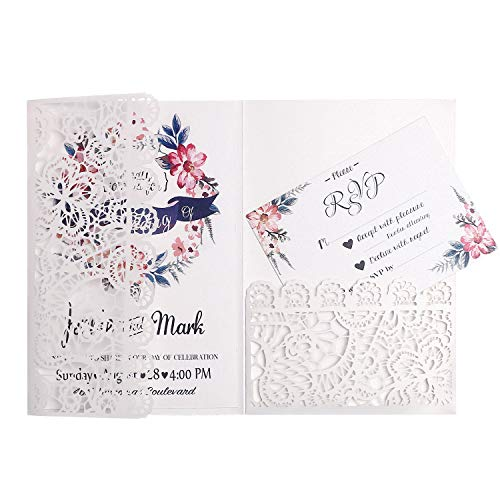 (FEIYI 20pcs 3 Folds Laser Cut Lace Flower Pattern Invitations Cards For Birthday Baby Shower Wedding Rehearsal Dinner Invites Birthday Invites (White))