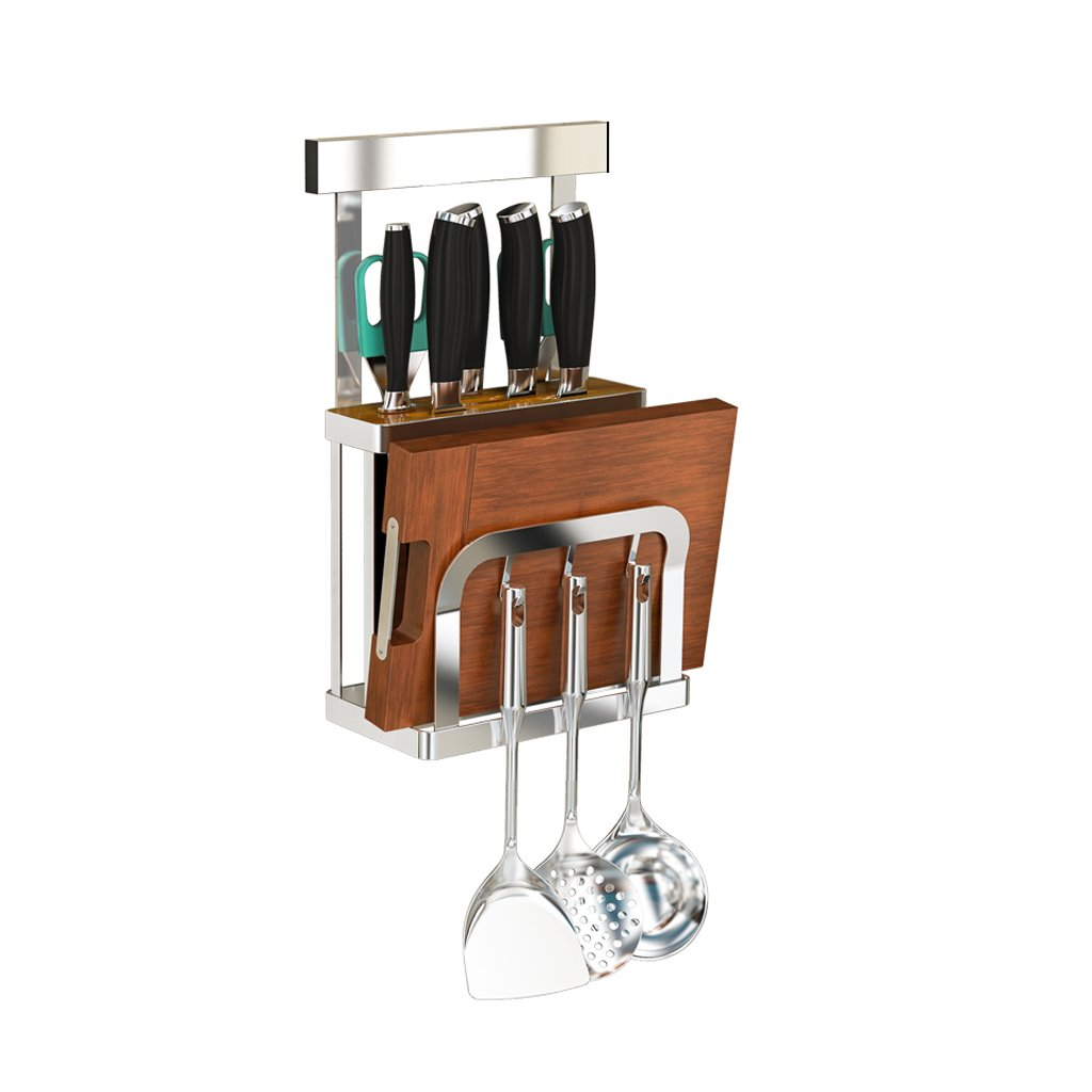 Stainless steel knife holder knife holder Kitchen rack Multi-function cutting board Supplies storage wall-mounted tool rack Kitchen multi-function cutting vegetables Supplies storage wall-mounted by AD