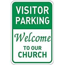 Visitor Parking Welcome To Our Church Aluminum Metal Sign
