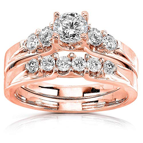 (Round Diamond 5-Stone Bridal Set 1 Carat T.W. 14k Rose Gold, 9.5 )
