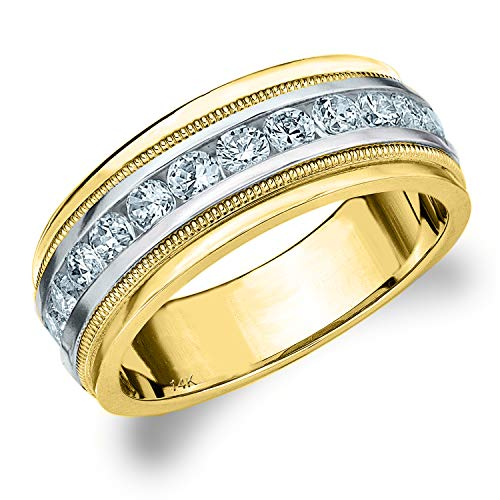 1CT Heritage Men's Diamond Ring in 14K Two Tone Gold, 1.0 cttw Wedding Anniversary Ring for Men - Finger Size 10 (Two Tone Tiffany Ring)