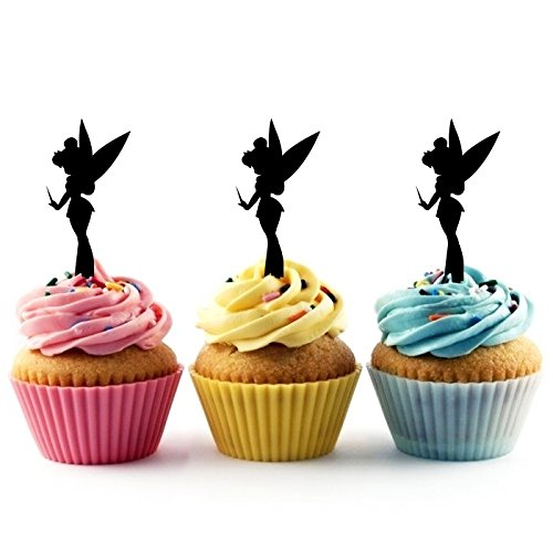 TA0024 Tinkerbell Peter Pan Silhouette Party Wedding Birthday Acrylic Cupcake Toppers Decor 10 pcs (Silhouette Tinkerbell)
