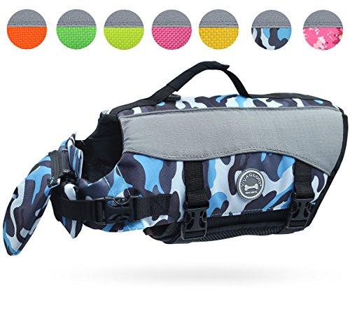 Vivaglory Dog Life Jackets, Pet Life Vest Lifesaver Dog Life Preserver with Extra Padding for Dogs, Camo Blue, XS ()