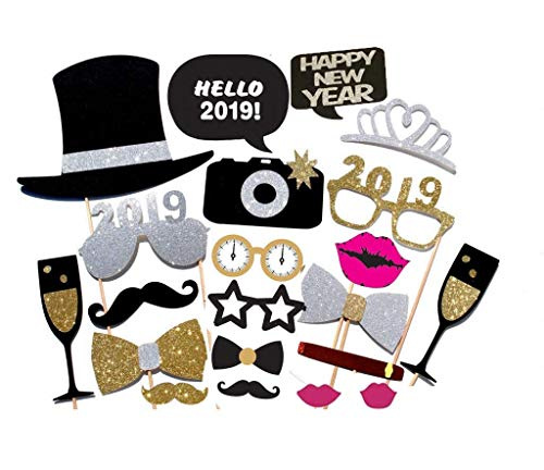 7-gost 21PCS 2019 New Year's Eve Party Card Masks Photo Booth Props Supplies Decorations ()