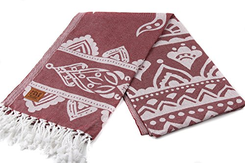 Gold Case Pegasus 100% Cotton pestemal - Bath & Beach Multi-Purpose Turkish Towel/Throw - 39x70(100x180cm) Peshtemal, Burgundy ()