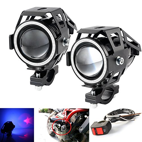 Blue Ring Led (LEDUR Motorcycle Headlight Led U7 DRL Fog Driving Running Light with Angel Eyes Lights Ring Front Spotlight Strobe Flashing Blue Light and Switch(2PCS,Blue Halo))