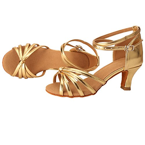 Latin 5cm Standard Heel VASHCAME Women's Knot Gold Sandals Ballroom Dance Shoes aqnAPOH