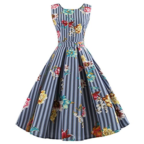 Women Vintage Printing Dress, AgrinTol Bodycon Sleeveless Halter Evening Party Prom Swing Dress Light Blue -
