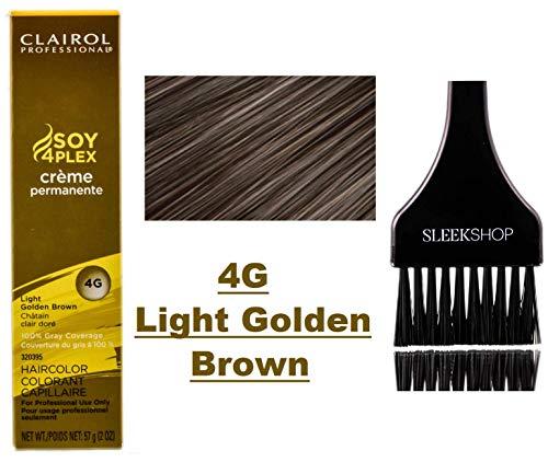Clairol Soy4Plex Premium PERMANENT CREAM HAIR COLOR (w/Sleek Tint Brush) 100% Gray Coverage Creme Permanente Professional Grey Haircolor Dye (4G Light Golden Brown) ()