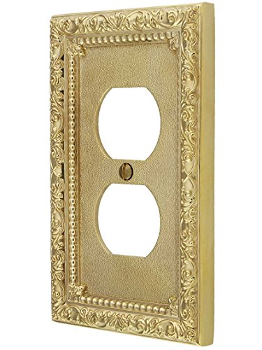 House of Antique Hardware R-010II-424-UL Floral Victorian Duplex Outlet Cover Plate in Un-Lacquered - Outlet Floral Cover