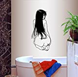Wall Vinyl Decal Home Decor Art Sticker Anime Manga Sexy Nude Girl Sitting Back Bathroom Beauty Spa Salon Removable Stylish Mural Unique Design 209
